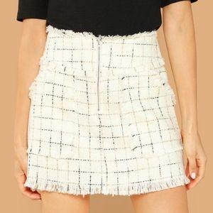 Shein White Frayed Plaid Tweed Skirt